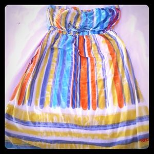 Stripped strapless dress